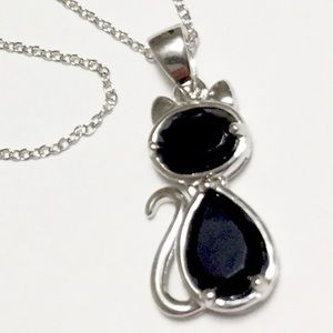 NEW JTV Sterling Silver Spinel Cat Necklace